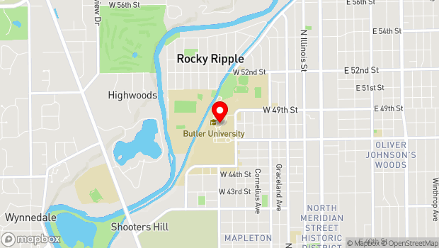 Google Map of Butler University, Indianapolis, IN 46208