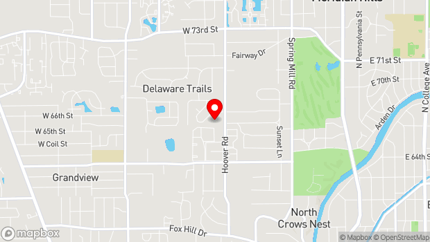 Google Map of 6602 Hoover Road, Indianapolis, IN 46260