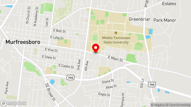 Google Map of Main Street, Murfreesboro, TN 37130