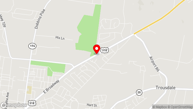 Google Map of 1350 East Broadway Street, Gallatin, TN 37066