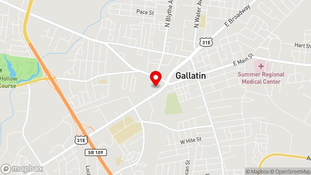 Google Map of 392 West Main Street, Gallatin, TN 37066