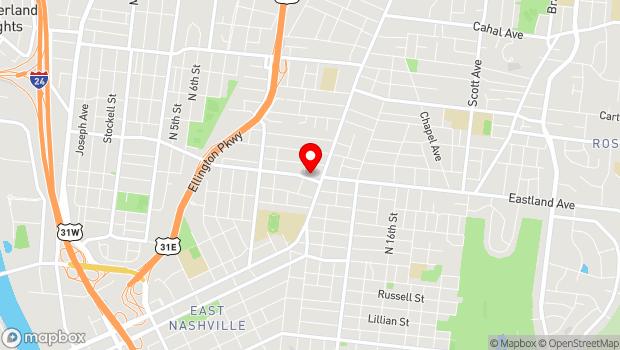 Google Map of 1043 W Eastland Ave, Nashville, TN 37206