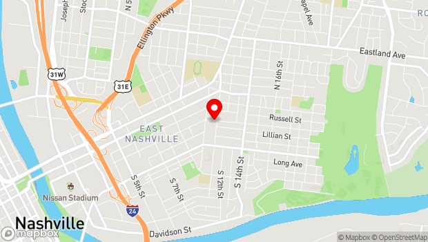 Google Map of 1006 Fatherland Street, Nashville, TN 37206