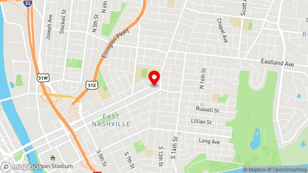 Google Map of 1000 Main Street, Nashville, TN 37206
