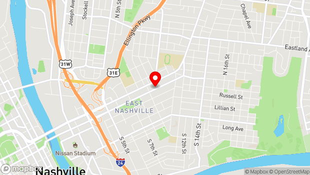 Google Map of 917 Woodland Avenue, Nashville, TN 37206