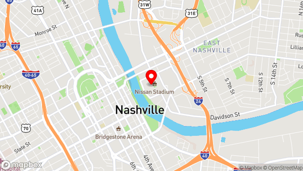 Google Map of 1 Titans Way, Nashville, TN 37213