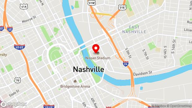 Google Map of 1 Titans Way, Nashville, TN 37213