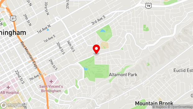 Google Map of Clairmont Ave and 39th Street S, Birmingham, AL 35222