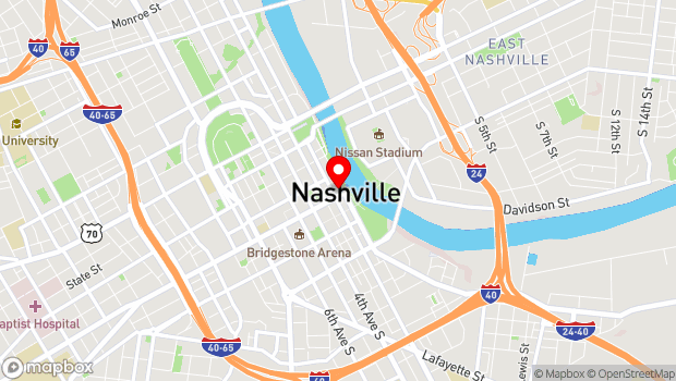 Google Map of 100 Broadway, Nashville, TN 37201