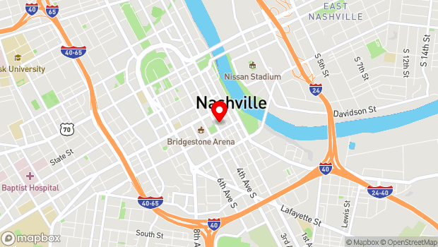 Google Map of One Symphony Place, Nashville, TN 37201