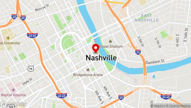 Google Map of 2nd Ave @ Commerce, Nashville, TN 37201