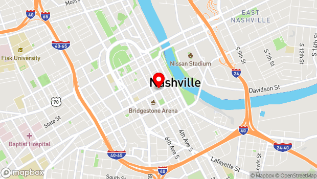 Google Map of 400 Broadway, Nashville, TN 37203