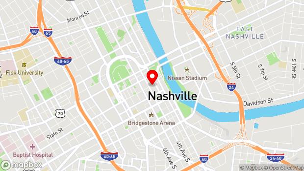 Google Map of Printers Alley, Nashville, TN 37201