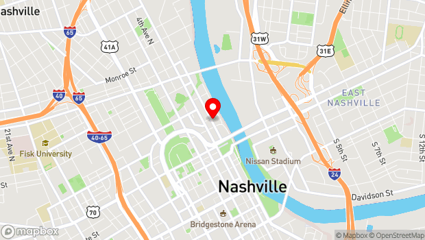 Google Map of First Avenue North/Riverfront Park, Nashville, TN 37201