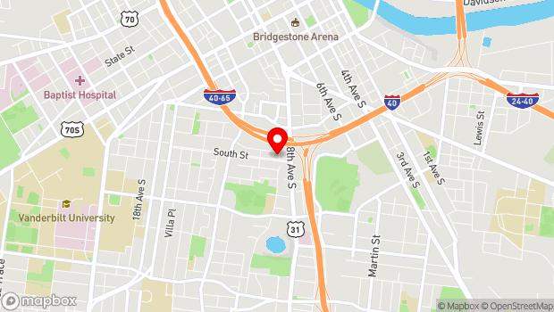 Google Map of 833 9th Avenue South, Nashville, TN 37203