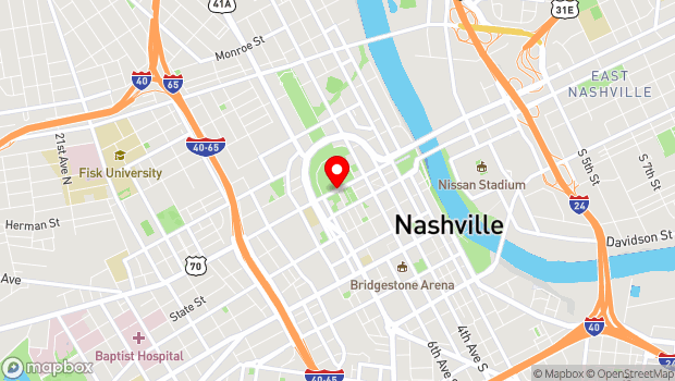 Google Map of Charlotte Ave at 7th Ave North, Nashville, TN 37203