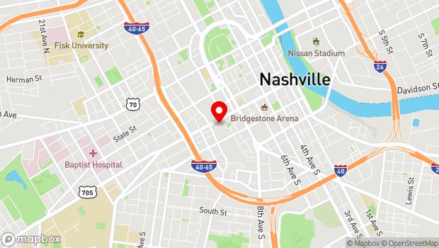 Google Map of 1001 Broadway, Nashville, TN 37203