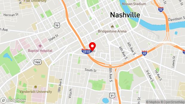 Google Map of 401 12th Avenue South, Nashville, TN 37203