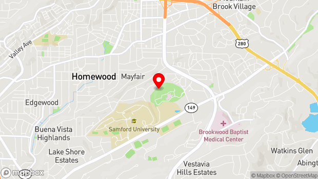 Google Map of 4000 Ridgeway Dr, Homewood, AL 35209