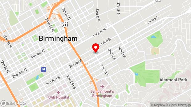 Google Map of 2901 2nd Ave S, Birmingham, Alabama 35233