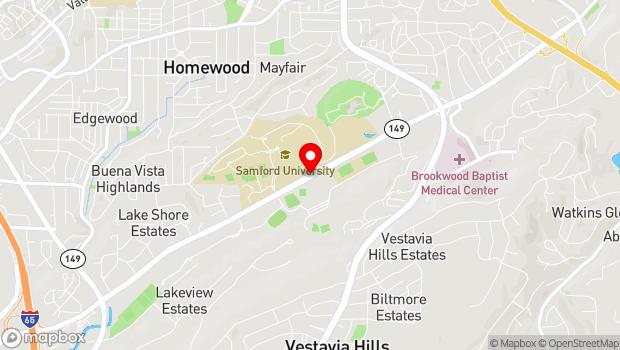 Google Map of 800 Lakeshore Drive, Birmingham, AL 35229