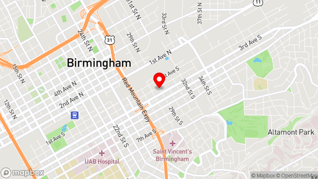 Google Map of 2829 2nd Avenue South, Birmingham, AL 35233