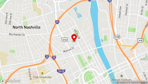 Google Map of 1322 6th Avenue North, Nashville, TN 37208