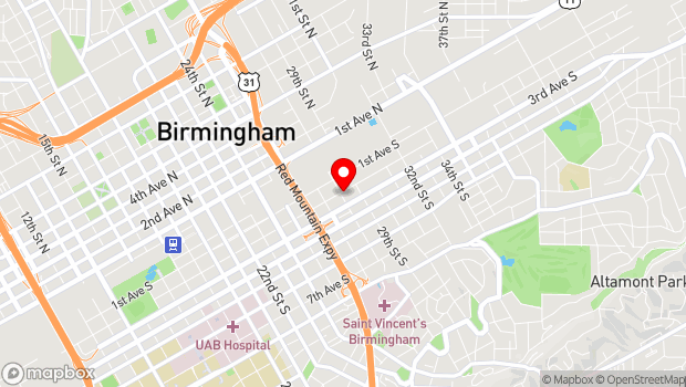 Google Map of 2821 2nd Avenue South, Birmingham, AL 35233