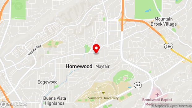 Google Map of 1721 Oxmoor Road , Homewood, AL 35209
