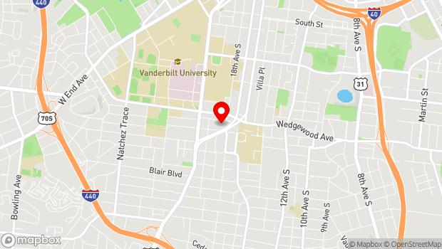 Google Map of 1900 Acklen Avenue, Nashville, TN 37212