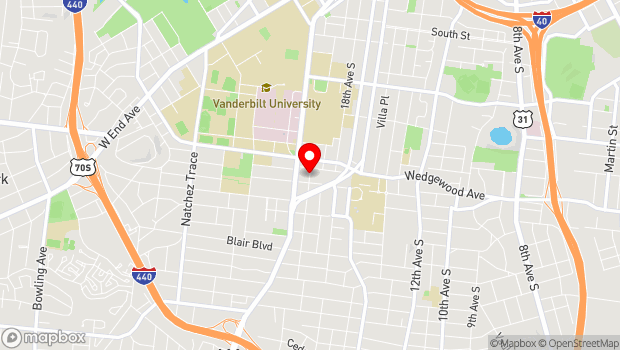 Google Map of 1806 20th Ave S, Nashville, TN 37212