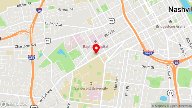 Google Map of 2100 West End Avenue, Nashville, TN 37203