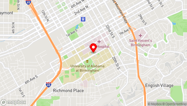 Google Map of 1700 University Boulevard, Birmingham, AL 35233