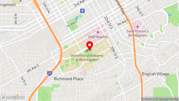 Google Map of 1501 University Boulevard, Birmingham, AL 35294