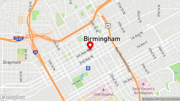 Google Map of 2019 Fourth Avenue, North, Birmingham, AL 35203