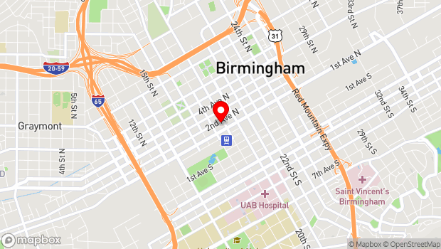 Google Map of 1821 2nd Ave N, Birmingham, AL 35203