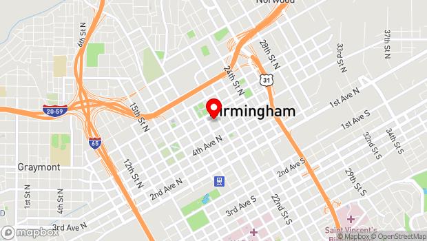 Google Map of 2017 Sixth Avenue North, Birmingham, Alabama 35203