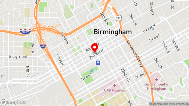 Google Map of 200 19th St N, Birmingham, AL 35203