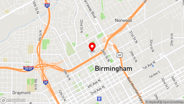 Google Map of 950 22nd Street N, Birmingham, AL 35203