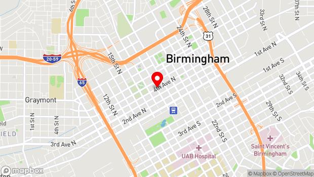 Google Map of 4th Avenue North & 18th Street, Birmingham, AL 35203