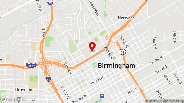 Google Map of 2101 Richard Arrington Junior Boulevard North , Birmingham, AL 35203