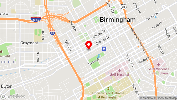 Google Map of 1500 1st Ave N, Birmingham, AL 35203