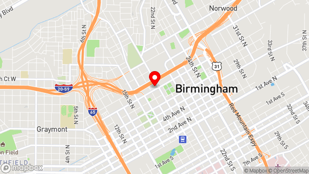 Google Map of 1800 Rev. Abraham Woods, Jr. Blvd., Birmingham, AL 35203