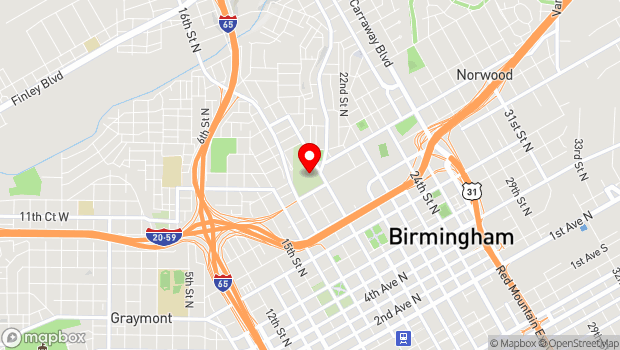 Google Map of 1120 North 19th Street, Birmingham, Alabama 35234