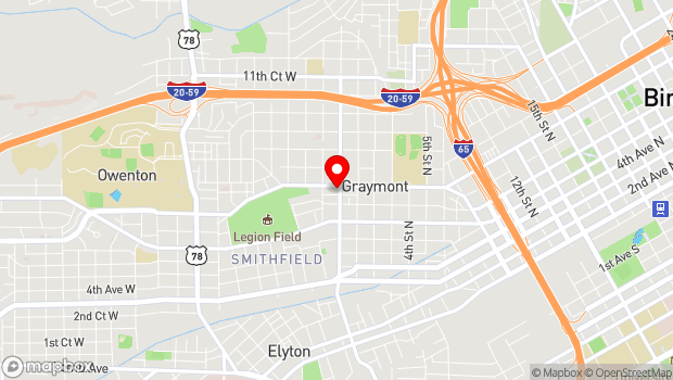 Google Map of 1 8th Ave W , Birmingham, Alabama 35204