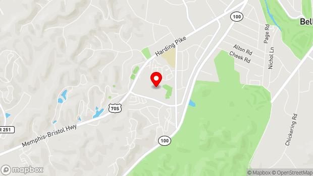 Google Map of 801 Percy Warner Blvd, Nashville, TN 37205