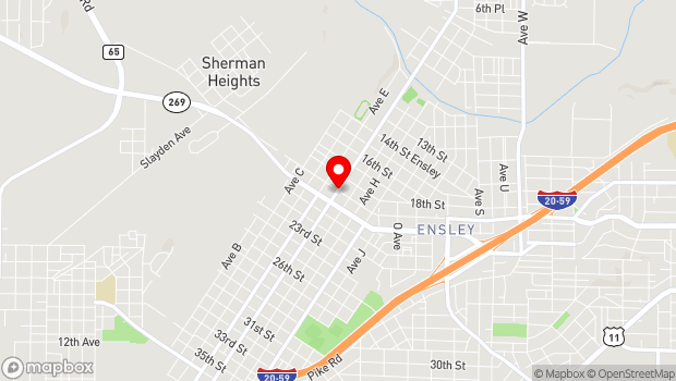 Google Map of Intersection of Avenue F and 19th Street Ensley, Birmingham, AL 35218