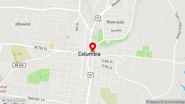 Google Map of 707 North Main Street, Columbia, TN 38401