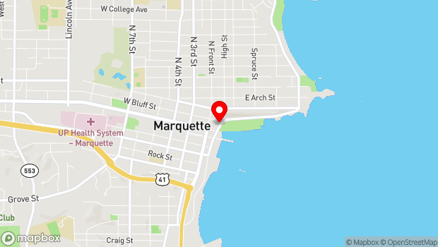 Google Map of 105 E Washington St, Marquette, MI 49855