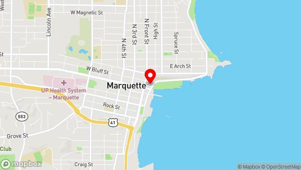 Google Map of 105 E Washington St., Marquette, MI 49855